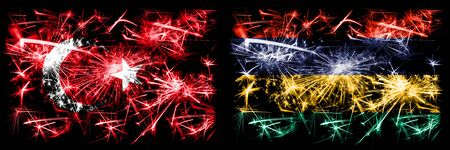 Turkey, Turkish vs Mauritius, Mauritian New Year celebration sparkling fireworks flags concept background. Combination of two abstract states flags. Stock Photo