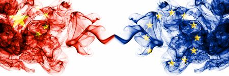 China, Chinese vs European Union, EU smoky mystic states flags placed side by side. Concept and idea thick colored silky abstract smoke flags Banco de Imagens