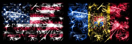 United States of America, USA vs Moldova, Moldovan New Year celebration sparkling fireworks flags concept background. Combination of two abstract states flags.