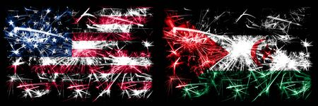 United States of America, USA vs Sahrawi New Year celebration sparkling fireworks flags concept background. Combination of two abstract states flags.