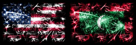 United States of America, USA vs Maldives, Maldivian New Year celebration sparkling fireworks flags concept background. Combination of two abstract states flags.