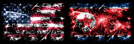 United States of America, USA vs North Korea, Korean New Year celebration sparkling fireworks flags concept background. Combination of two abstract states flags.