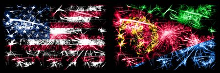United States of America, USA vs Eritrea New Year celebration sparkling fireworks flags concept background. Combination of two abstract states flags.