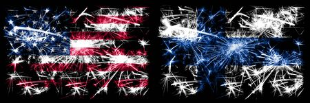 United States of America, USA vs Finland, FInnish New Year celebration sparkling fireworks flags concept background. Combination of two abstract states flags.