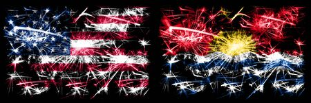 United States of America, USA vs Kiribati New Year celebration sparkling fireworks flags concept background. Combination of two abstract states flags. Banco de Imagens