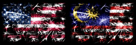 United States of America, USA vs Malaysia, Malaysian New Year celebration sparkling fireworks flags concept background. Combination of two abstract states flags.