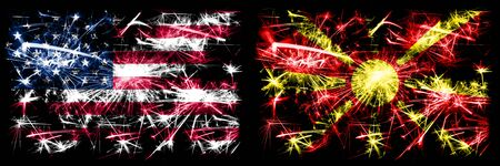United States of America, USA vs Macedonia, Macedonian New Year celebration sparkling fireworks flags concept background. Combination of two abstract states flags. Banco de Imagens