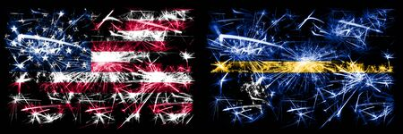 United States of America, USA vs Nauru New Year celebration sparkling fireworks flags concept background. Combination of two abstract states flags. Banco de Imagens