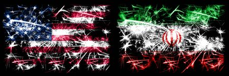 United States of America, USA vs Iran, Iranian New Year celebration sparkling fireworks flags concept background. Combination of two abstract states flags.