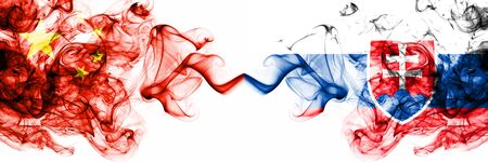 China, Chinese vs Slovakia, Slovakian smoky mystic states flags placed side by side. Concept and idea thick colored silky abstract smoke flags Banco de Imagens