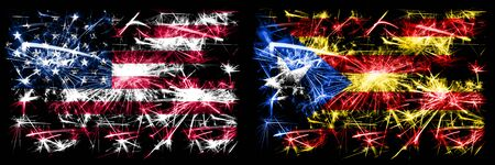 United States of America, USA vs Catalonia, Spain New Year celebration sparkling fireworks flags concept background. Combination of two abstract states flags. Banco de Imagens
