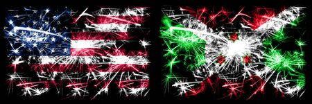 United States of America, USA vs Burundi, Burundian New Year celebration sparkling fireworks flags concept background. Combination of two abstract states flags.