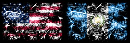United States of America, USA vs Guatemala, Guatemalan New Year celebration sparkling fireworks flags concept background. Combination of two abstract states flags.