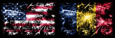 United States of America, USA vs Chad, Chadian New Year celebration sparkling fireworks flags concept background. Combination of two abstract states flags.