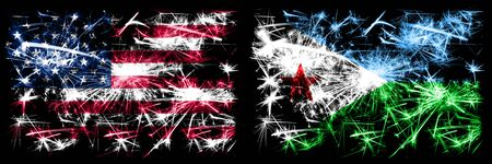 United States of America, USA vs Djibouti New Year celebration sparkling fireworks flags concept background. Combination of two abstract states flags.