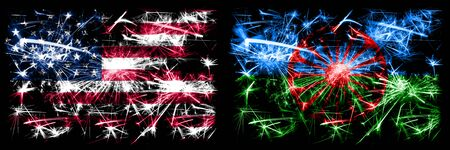 United States of America, USA vs Gipsy, Roman New Year celebration sparkling fireworks flags concept background. Combination of two abstract states flags.