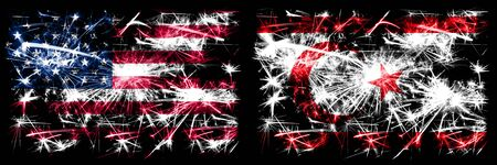 United States of America, USA vs Northern Cyprus New Year celebration sparkling fireworks flags concept background. Combination of two abstract states flags. Banco de Imagens