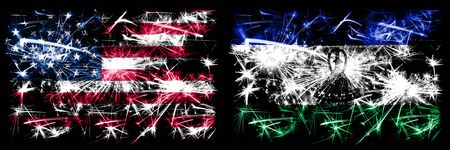 United States of America, USA vs Lesotho New Year celebration sparkling fireworks flags concept background. Combination of two abstract states flags.