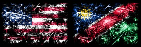 United States of America, USA vs Namibia, Namibian New Year celebration sparkling fireworks flags concept background. Combination of two abstract states flags.