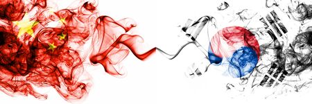 China, Chinese vs South Korea, Korean smoky mystic states flags placed side by side. Concept and idea thick colored silky abstract smoke flags Banco de Imagens