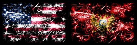 United States of America, USA vs Montenegro, Montenegrin New Year celebration sparkling fireworks flags concept background. Combination of two abstract states flags. Banco de Imagens