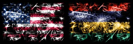 United States of America, USA vs Mauritius, Mauritian New Year celebration sparkling fireworks flags concept background. Combination of two abstract states flags. Banco de Imagens