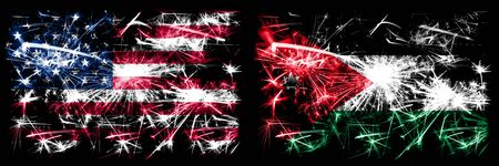United States of America, USA vs Jordan, Jordanian New Year celebration sparkling fireworks flags concept background. Combination of two abstract states flags.