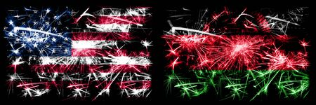 United States of America, USA vs Malawi, Malawian New Year celebration sparkling fireworks flags concept background. Combination of two abstract states flags. Banco de Imagens
