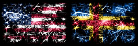 United States of America, USA vs Aland New Year celebration sparkling fireworks flags concept background. Combination of two abstract states flags. Banco de Imagens