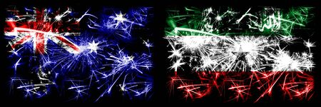 Australia, Ozzie vs Somaliland New Year celebration sparkling fireworks flags concept background. Combination of two abstract states flags.