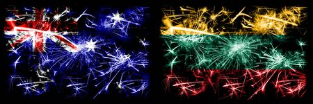 Australia, Ozzie vs Lithuania, Lithuanian New Year celebration sparkling fireworks flags concept background. Combination of two abstract states flags.