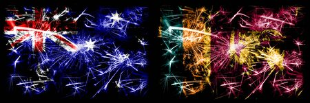 Australia, Ozzie vs Sri Lanka, Sri Lankan New Year celebration sparkling fireworks flags concept background. Combination of two abstract states flags.