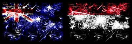 Australia, Ozzie vs Yemen, Yemeni New Year celebration sparkling fireworks flags concept background. Combination of two abstract states flags.