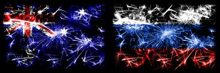 Australia, Ozzie vs Russia, Russian New Year celebration sparkling fireworks flags concept background. Combination of two abstract states flags.