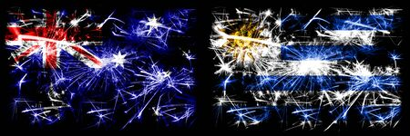 Australia, Ozzie vs Uruguay, Uruguayan New Year celebration sparkling fireworks flags concept background. Combination of two abstract states flags.