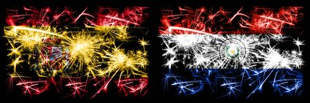 Spanish vs Paraguay, Paraguayan New Year celebration sparkling fireworks flags concept background. Combination of two abstract states flags.