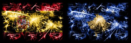 Spanish vs Kosovo, Serbia New Year celebration sparkling fireworks flags concept background. Combination of two abstract states flags.