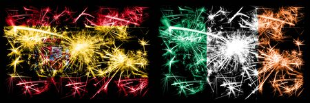 Spanish vs Ireland, Irish New Year celebration sparkling fireworks flags concept background. Combination of two abstract states flags. Banque d'images