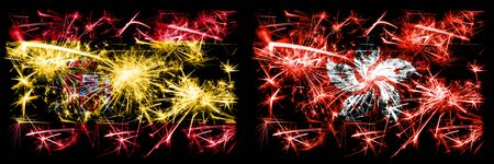 Spanish vs Hong Kong, China New Year celebration sparkling fireworks flags concept background. Combination of two abstract states flags. Stock Photo