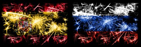 Spanish vs Russia, Russian New Year celebration sparkling fireworks flags concept background. Combination of two abstract states flags. Stock Photo