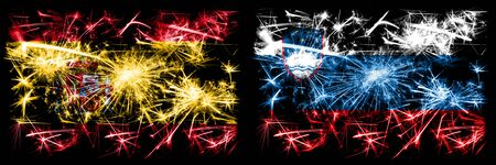 Spanish vs Slovenia, Slovenian New Year celebration sparkling fireworks flags concept background. Combination of two abstract states flags.