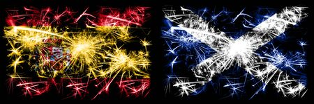 Spanish vs Scotland, Scottish New Year celebration sparkling fireworks flags concept background. Combination of two abstract states flags.