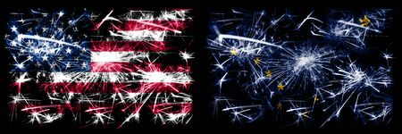 United States of America vs Alaska New Year celebration sparkling fireworks flags concept background. Combination of two american states flags.