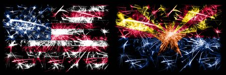 United States of America vs Arizona New Year celebration sparkling fireworks flags concept background. Combination of two american states flags.