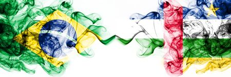Brazil, Brazilian vs Central African Republic smoky mystic flags placed side by side. Thick colored silky abstract smoke flags combination 스톡 콘텐츠