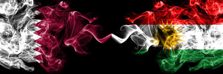 Qatar vs Kurdistan, Kurdish smoky mystic flags placed side by side. Thick colored silky abstract smoke flags.