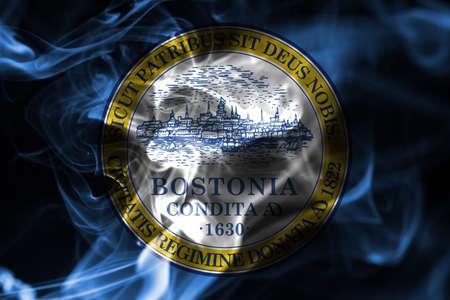 Boston city smoke flag, Massachusetts State, United States Of America
