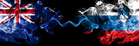 New Zealand vs Slovenia, Slovenian smoky mystic flags placed side by side. Thick colored silky abstract smoke flags