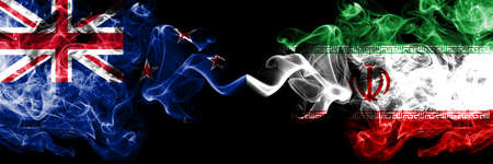 New Zealand vs Iran, Iranian smoky mystic flags placed side by side. Thick colored silky abstract smoke flags