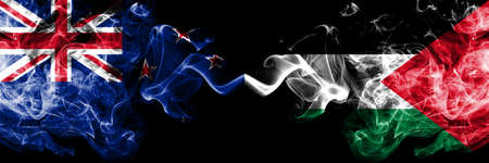 New Zealand vs Palestine, Palestinian smoky mystic flags placed side by side. Thick colored silky abstract smoke flags